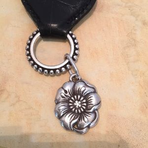 BRIGHTON Brown leather KEY CHAIN  w HEART TIN